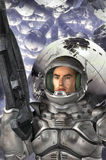 Astronaut soldier. 3D render science fiction illustration Royalty Free Stock Images