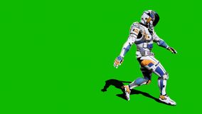 Astronaut-soldier of the future, dancing in front of a green screen. Looped realistic animation.