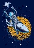 Astronaut som flyger i illustrationer för utrymmetecken Arkivfoto