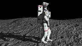 Astronaut som går på månen och beundrar den härliga jorden Cg-animering