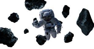 Astronaut som isoleras på vita tolkningbeståndsdelar för bakgrund 3D av Arkivfoton
