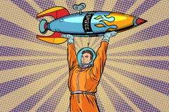 Astronaut som rymmer en utrymmeraket royaltyfri illustrationer