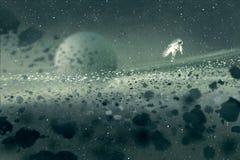 Astronaut som svävar i asteroidfältet, mystiskt utrymme vektor illustrationer