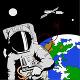 Astronaut in space stock illustration