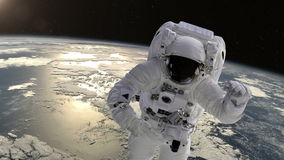 Astronaut in space above the Earth. stock footage