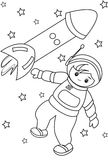 Astronaut in space coloring page Royalty Free Stock Image