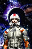 Astronaut space commander pilot painted stock illustration
