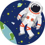 Astronaut in space. Astronaut floating in open space on planet and stars background Stock Photos