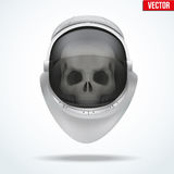 Astronaut space helmet with skull behind visor glass Stock Images
