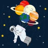Astronaut in space illustration stock illustration