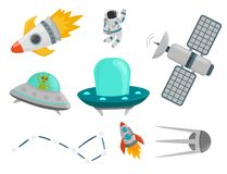 Astronaut space landing planets spaceship future exploration space ship cosmonaut rocket shuttle vector illustration. Astronaut in space landing different Royalty Free Stock Photos