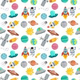 Astronaut space landing planets spaceship seamless pattern background future exploration space ship cosmonaut rocket. Astronaut in space landing seamless pattern vector illustration