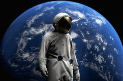 Astronaut on space mission flying around our blue planet. Earth on background. Cosmos. 3D render.  Stock Images