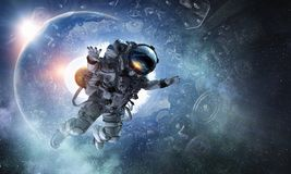 Astronaut on space mission stock photography