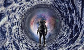 Astronaut and space. Mixed media stock images