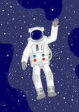 Astronaut in the Space. Astronaut with rised hand in the Space, vector vector illustration