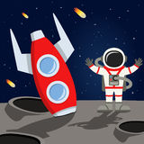 Astronaut and Space Rocket on the Moon. A cartoon red rocket crashed on a unknown planet of the universe with an astronaut and comets falling, on a dark blue vector illustration