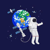 Astronaut in space with satellites Stock Photography