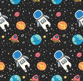 Astronaut in space seamless background in kawaii style vector vector illustration