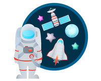 Astronaut and Space Set Royalty Free Stock Images