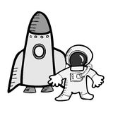 Astronaut and space ship Stock Image