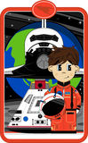 Astronaut with Space Shuttle and Capsule. An EPS file is also available stock illustration