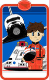 Astronaut with Space Shuttle. An EPS file is also available stock illustration
