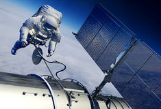 Astronaut and space station Royalty Free Stock Photo