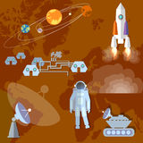 Astronaut in space, study of Mars, planet, orbit, spacecraft Royalty Free Stock Photo