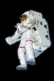 Astronaut Space Suit beim Schwimmen lokalisiert auf Schwarzes Stockbild
