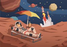 Astronaut in space suit having a cocktail on a sunbed on alien planet with rocket launching nearby. Space travel in. Astronaut in space suit having a cocktail on stock illustration