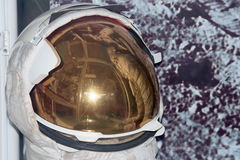 Astronaut Space Suit helmet detail. On moon background Royalty Free Stock Photos