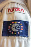 Astronaut space suit with NASA and ESA shoulder patches. Noordwijk, the Netherlands - 5 August 2017: Astronaut space suit with NASA and ESA shoulder patches at Royalty Free Stock Photos