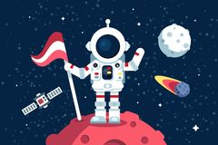 Astronaut in space suit standing on moon with flag royalty free illustration