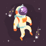 Astronaut in space suit working in open Space. Colorful vector Illustration Royalty Free Stock Image