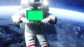 Astronaut in space with tablet, monitor. Realistic 4k animation.