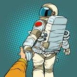 Astronaut space travel follow me concept, couple love hand leads. Pop art retro vector illustration comic cartoon vector vintage kitsch drawing royalty free illustration