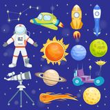 Astronaut space vector icons landing planets spaceship solar system future exploration spaceship cosmonaut rocket royalty free illustration