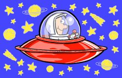 Astronaut in a spacecraft. An illustration of an astronaut in a spacecraft traveling through space Stock Photo