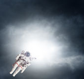 Astronaut spaceman aerial space stars Earth Stock Image