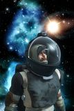 Astronaut spaceman with background nebula Stock Photo