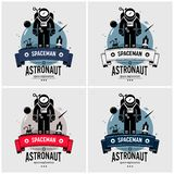 Astronaut spaceman logo design. Vector artwork of space exploration mission on moon, planet, stars, outer space, and the universe