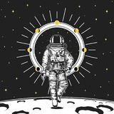 Astronaut spaceman. Moon phases planets in solar system. astronomical galaxy space. cosmonaut explore adventure. Engraved hand drawn in old sketch, vintage Royalty Free Stock Images