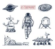 Astronaut spaceman. planets in solar system. astronomical galaxy. cosmonaut explore adventure. engraved hand drawn. Old sketch, vintage style space shuttle Stock Photos