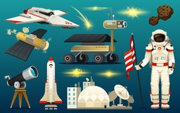 Astronaut spaceman. planets in solar system. astronomical galaxy. cosmonaut explore adventure. space shuttle, telescope. Robot and mars, lunar rover royalty free illustration