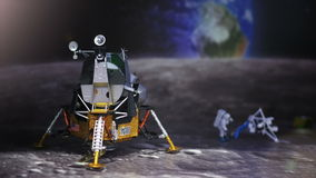 Astronaut, spaceman and spaceship on moon. stock footage