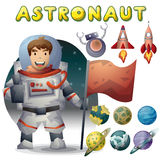 Astronaut spaceman vector cartoon with separated layers Royalty Free Stock Photography