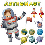 Astronaut spaceman vector cartoon with separated layers Royalty Free Stock Image