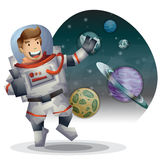 Astronaut spaceman vector cartoon with separated layers Royalty Free Stock Photo