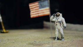 Astronaut or spaceman working on moon stock video footage